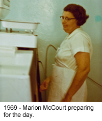 1960 - Marion McCourt preparing for the day.